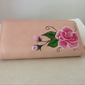 Handbags - Hand Painted wallet, roses.